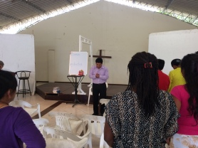 Pastor Luis teaching Homiletics.